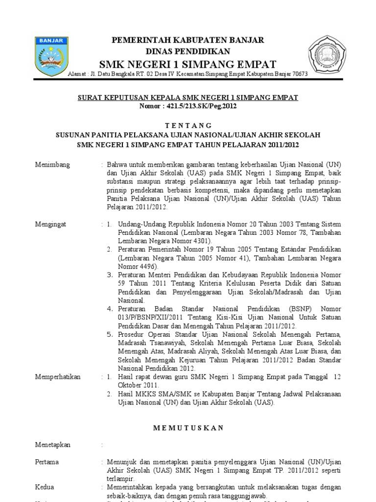 Contoh Sk Panitia Ujian Sekolah Sd 2021