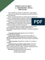 Interviu Focus Grup -Profesorul Ideal - Precizari
