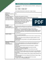 NAMATJIRA Technical Specifications 2012 Tour