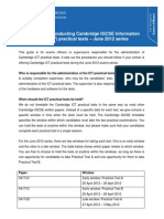 Procedures for conducting Cambridge IGCSE Information Technology (418) practical tests û June 2012 series