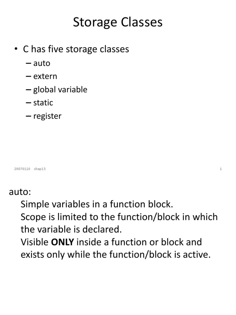 Storage Classes | Subroutine | Variable (Computer Science)