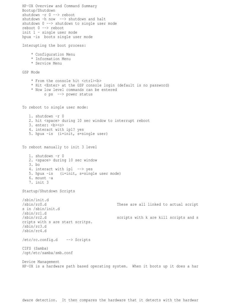 HP Commands | Booting | Command Line Interface