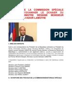 RAPPORT DE LA COMMISSION SPÉCIALE CHARGÉE D'EXAMINER LE DOSSIER DU PREMIER MINISTRE DÉSIGNÉ MONSIEUR LAURENT SALVADOR LAMOTHE
