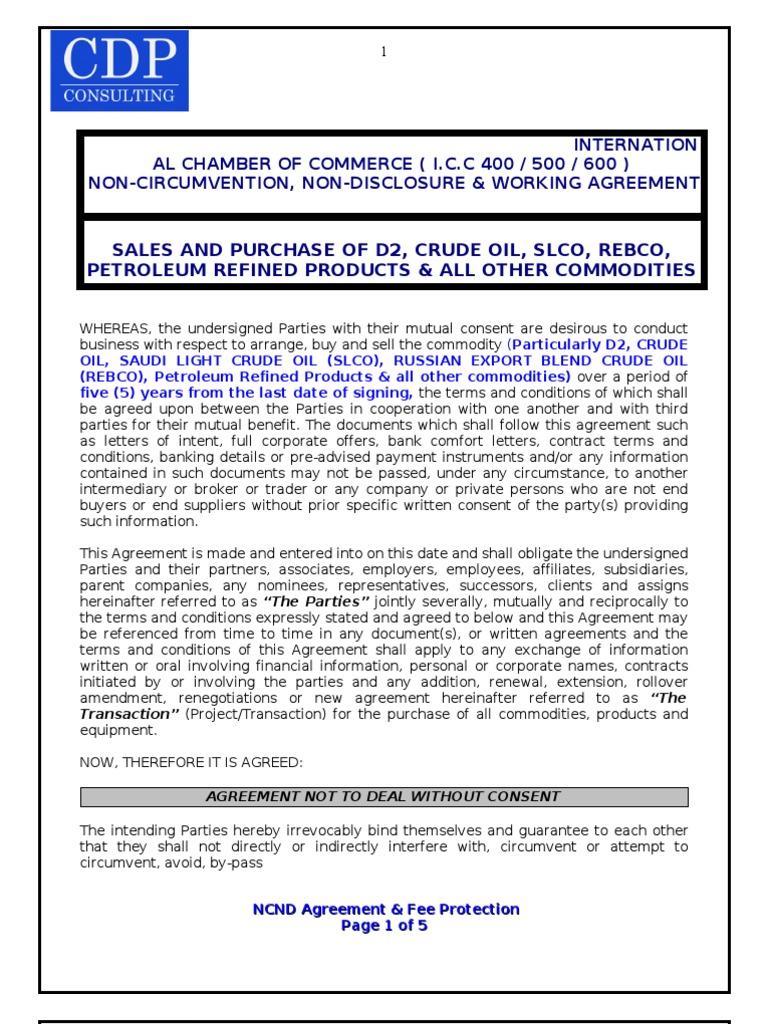 Cdp Ncnd Agreement Financial Transaction Arbitration