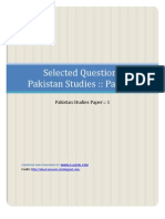 Selected Qusetions Pakistan Studies Paper 1 :