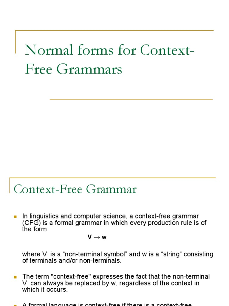 Normal Forms For Context Free Grammarsppt Style Fiction