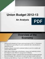 Analysis of Union Budget 2012-13
