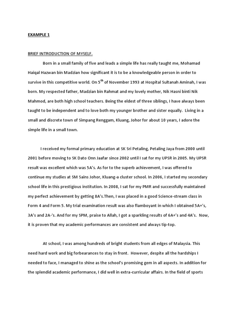 essay about myself introduction Essay about my self: introducing yourself to your instructor subject: introducing yourself to your instructor introduction my name is xxxxxxxxx i am from india i am in my first semester of senior year in civil engineering at clemson university, sc in this memo, i am going to tell you little bit about my background, interests, achievements.