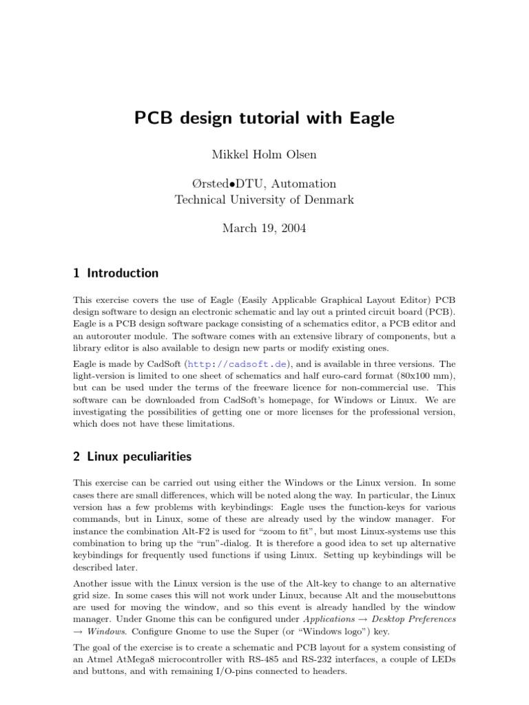 Eagle-Tutorial | Printed Circuit Board | Keyboard Shortcut