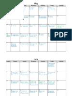 Soph Baseball Calendar 2012