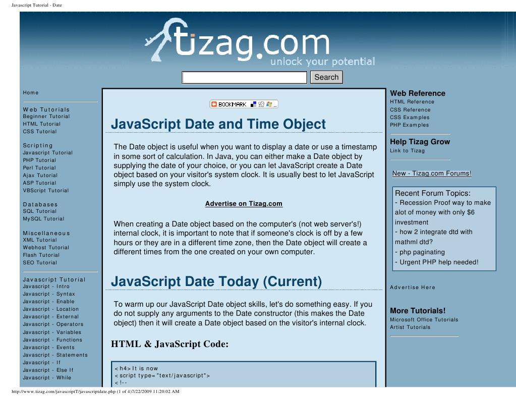 Javascript Tutorial - Date   Java Script   Php