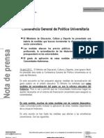NOTA DE PRENSA Conferencia General de Política Universitaria