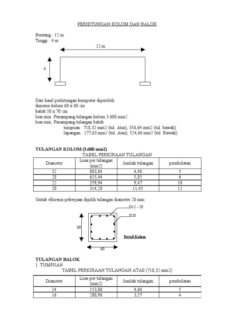 Perhitungan Kolom Dan Balok 12 M
