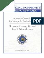 Attorney General Eric Schneiderman's NonProfit Leadership Committee Report February 16, 2012