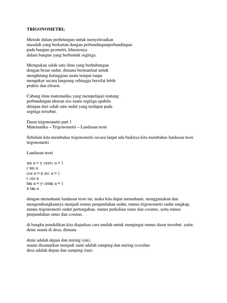 Contoh Soal Trigonometri Sudut Pertengahan Ilmusosial Id