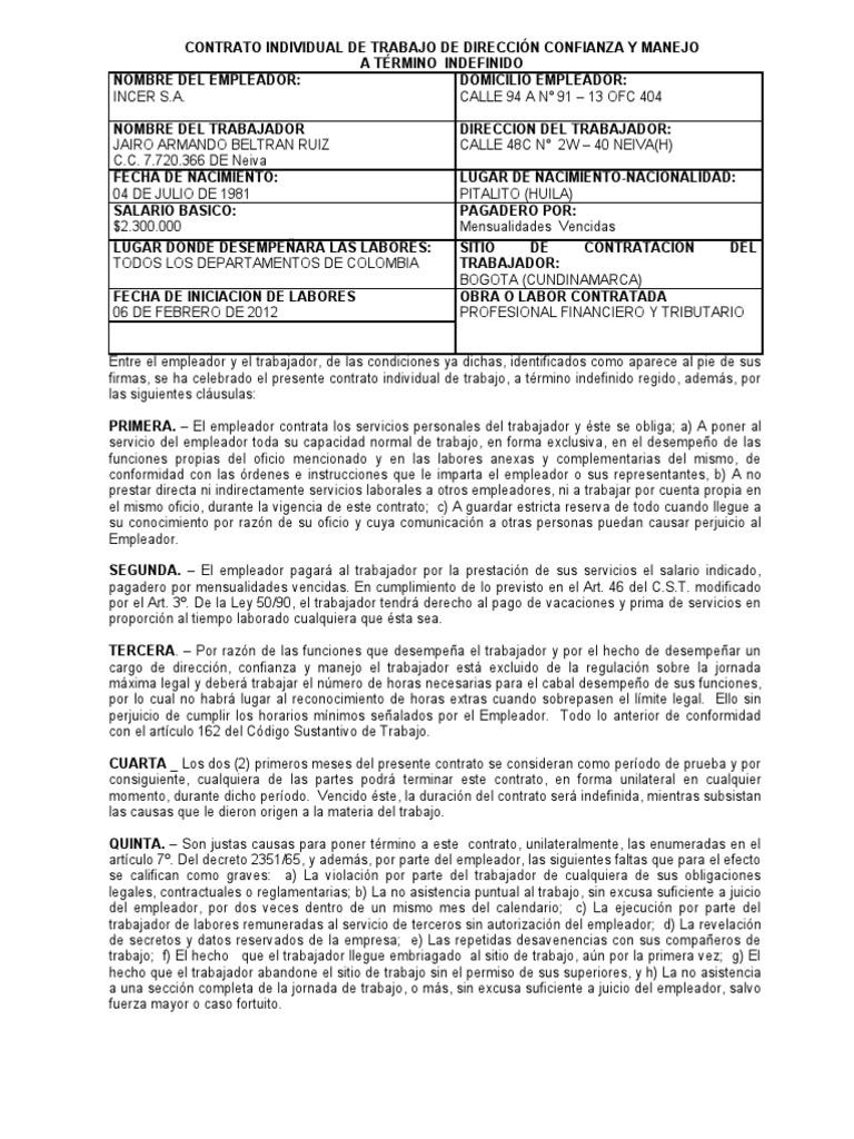 Modelo contrato direccion manejo y confianza a termino for Modelo contrato indefinido