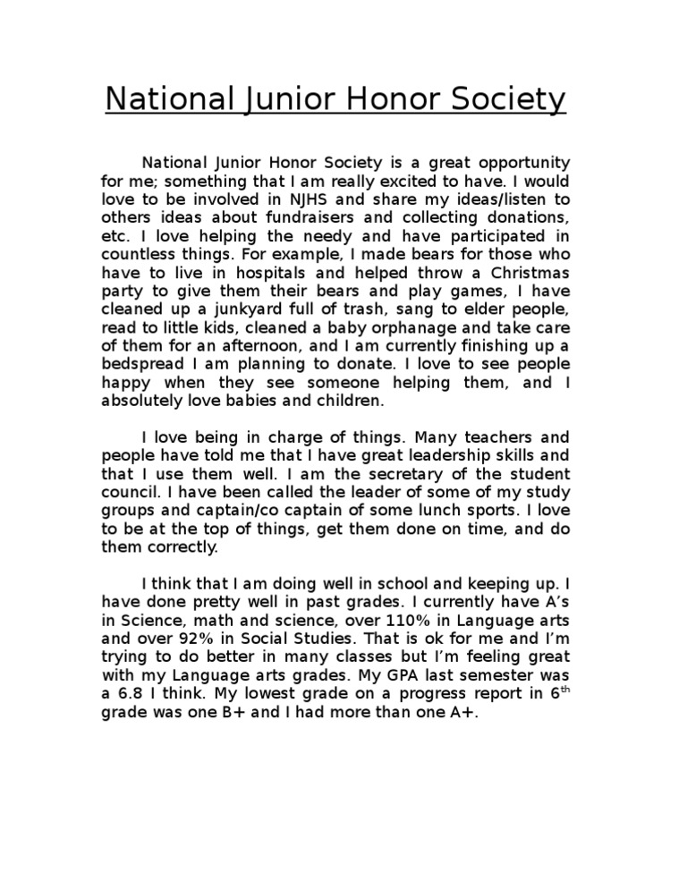 njhs essay examples national junior honor society application – Leadership Essay Example
