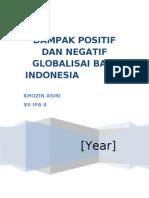 Dampak Positif Dan Negatif Globalisasi Bagi Indonesia