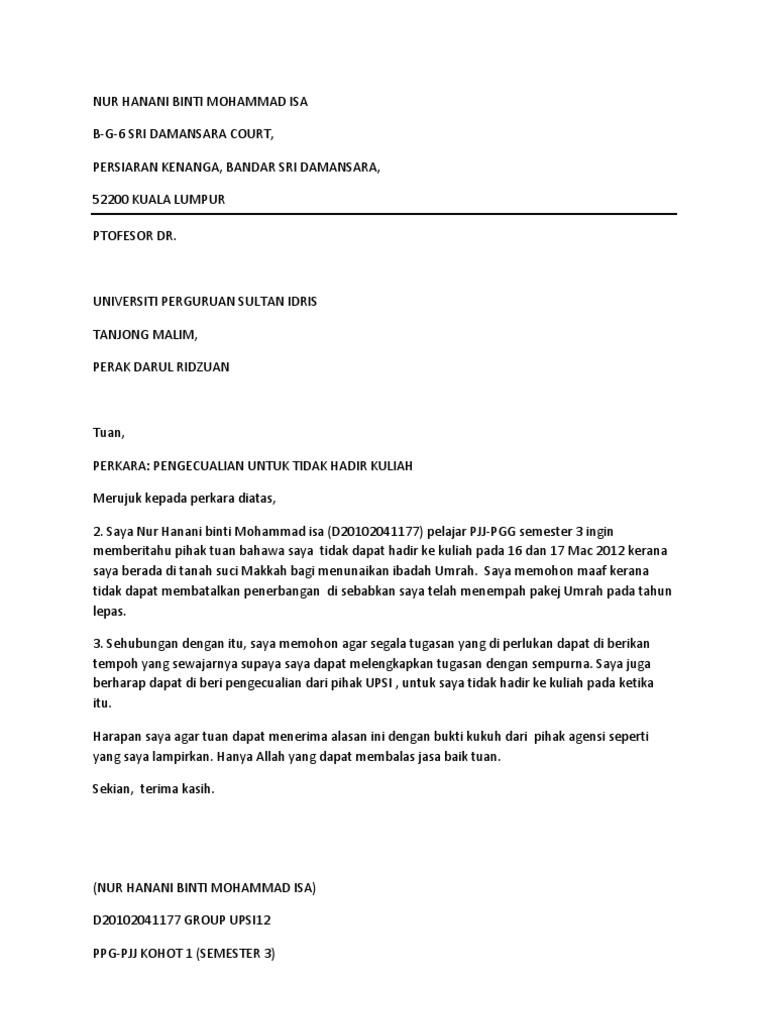 Surat Rasmi Pengecualian Kuliah Surat Rasmi Ra