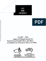 AG 807-1992 Approval Requirements for Natural Gas Flexible Hose and Hose Assemblies for Pressures Above 2.6 M