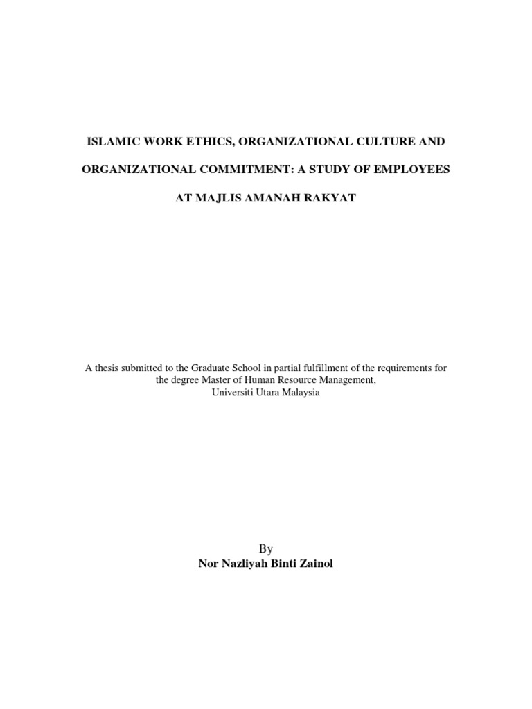 islamic work ethics and organzation culture organizational islamic work ethics and organzation culture organizational culture employment