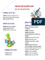 Programa de Fiestas Irotz  2012