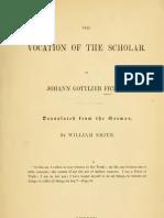 Fichte Vocation of the Scholar