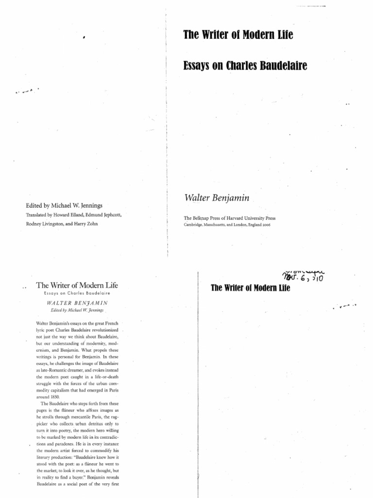 The Writer of Modern Life Walter Benjamin   Charles Baudelaire ...