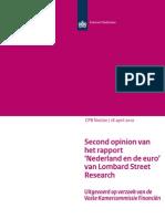 Second opinion rapport 'Nederland en de euro' van Lombard Street Research
