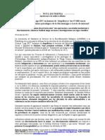 nota de prensa Despilfarro de 47000 € destinado al tratamiento psicológico de la FM por internet