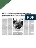En Perú el 77 porciento de empresas pasa apuros para contratar a personal técnico