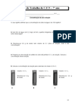 Ficha de Trabalho 7º Ano - concentração de uma solução