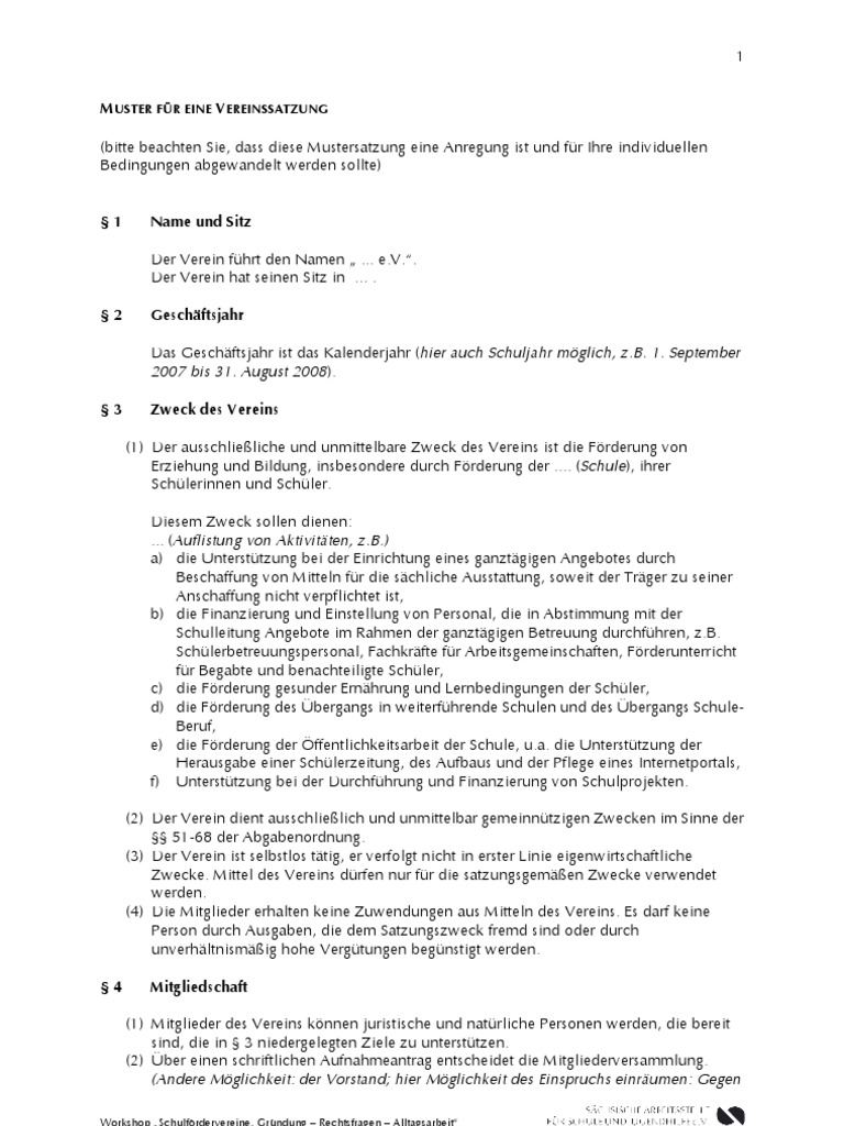 mustersatzungsfv5b15d - Vereinssatzung Muster