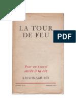 LA TOUR DE FEU Pour un nouvel accès à la vie « Krishnamurti »