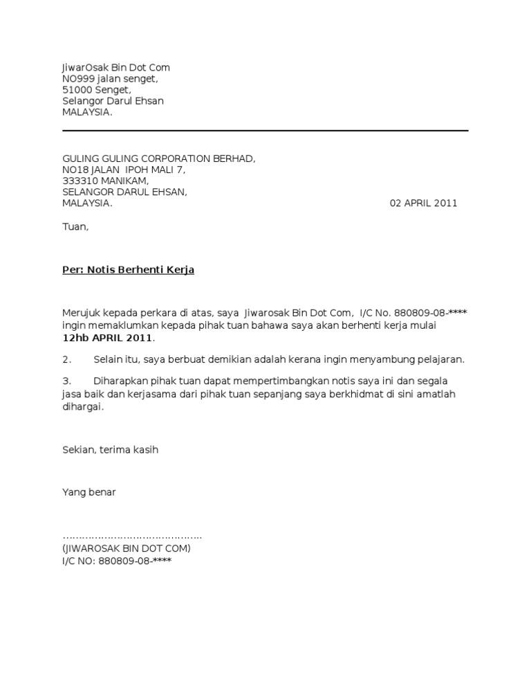 Contoh Surat Berhenti Kerja Com Detil Gambar Online