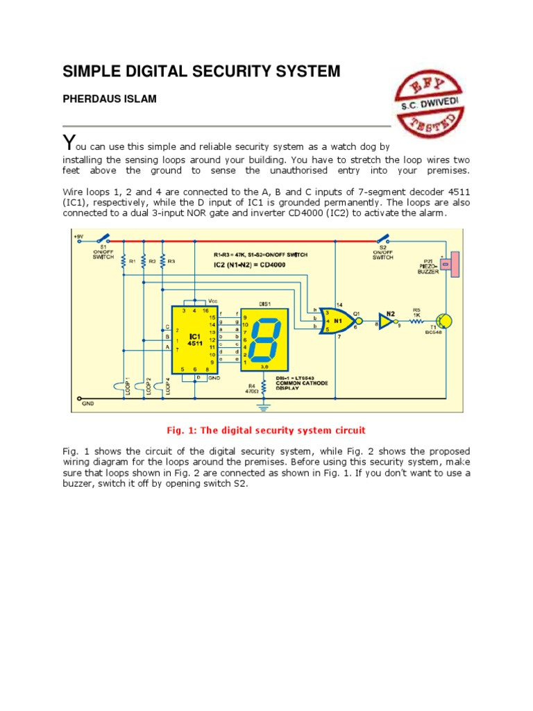 Simple Digital Security Systemdocx Alarm Amplifier Image Showing Wiring Diagram Of A Loop At The
