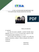 Cuadernillo de Actividades de Refuerzo de Vocales Para Trabajar en El Hogar