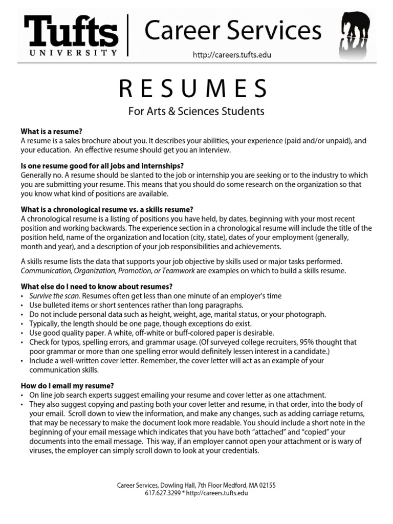 Tufts+Univ Resume Packet | Rsum | American Israel Public Affairs Committee