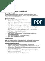 Asst Store Manager Job Description
