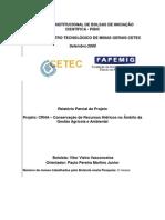 Conservação de Recursos Hídricos no Âmbito da Gestão Ambiental e Agrícola de Bacias Hidrográficas - Relatório Fapemig 2006