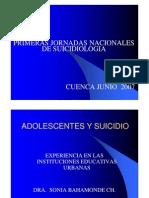 Adolesentes y Suicidio Instituciones Educativas Urbanas