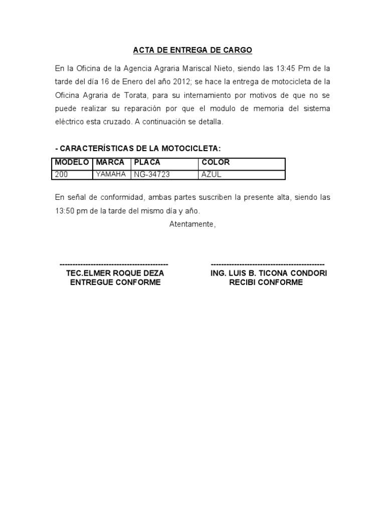 ACTA DE ENTREGA DE CARGO de motocicleta del señor te.elmer roque deza
