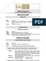 Agenda Legislativa - 23 al 27 de abril de 2012