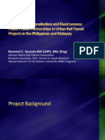 2012 Market, FX, Nationalization and Fiscal Lessons Public Private Partnerships in Urban Rail Transit Projects in the Philippines and Malaysia