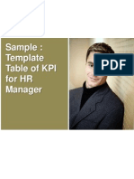 Template - Table of KPI for HR Manager