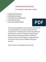 Consumer Buying Behaviour Process