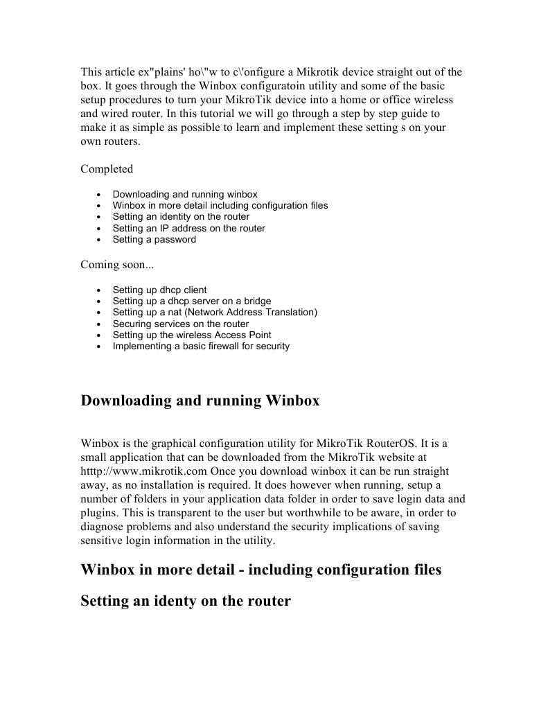 Basic Configuration of Mikrotik | Router (Computing) | Ip