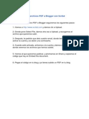 Subir Archivos Pdf A Blogger Con Scribd Agustín