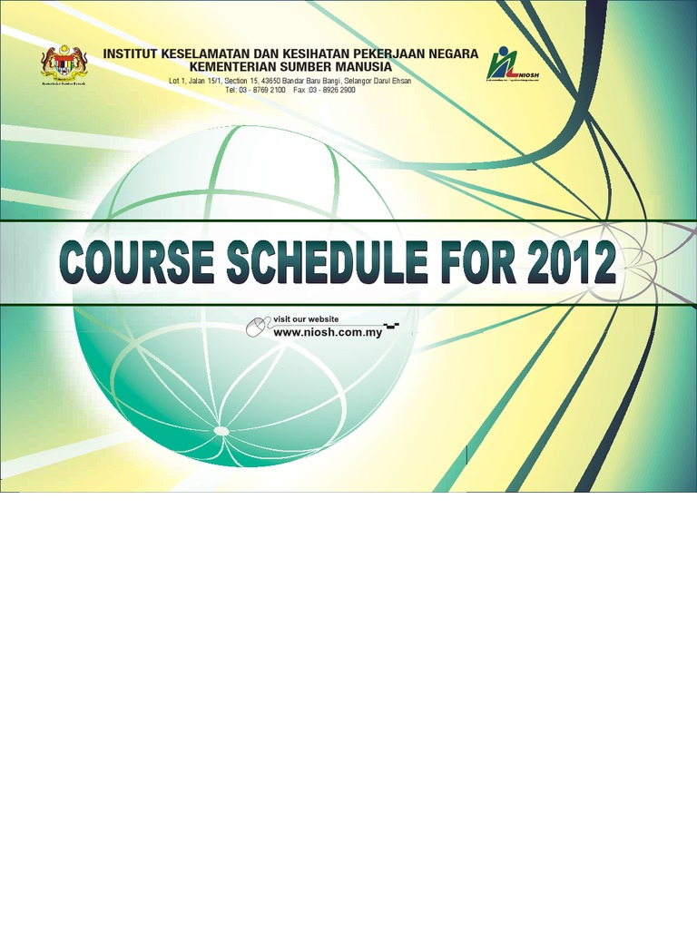 Niosh Course Schedule 2012 Occupational Safety And Health