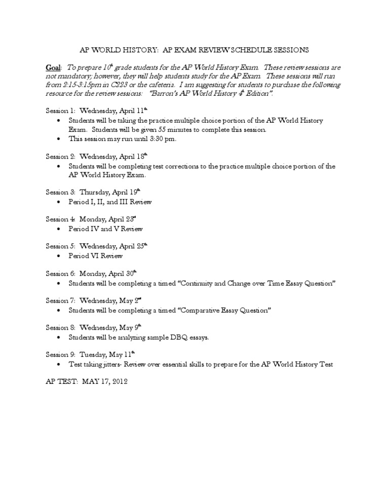 ap world history exam essay